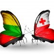 Butterflies with flags of Lithuaniand Tonga — Stock Photo #42021779