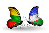 Butterflies with flags of Lithuania and Uzbekistan — Stock Photo
