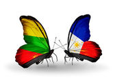 бабочки с флагами литвы и филиппины — Стоковое фото