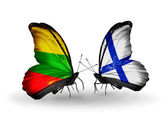 Butterflies with flags of Lithuania and Finland — Stock Photo