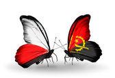 Bayraklar, polonya ve angola ile kelebekler — Stok fotoğraf