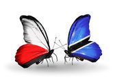 Butterflies with flags of Poland and Botswana — Stock Photo