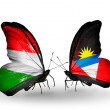 Stock Photo: Two butterflies with flags  of Hungary and Antiguand Barbuda