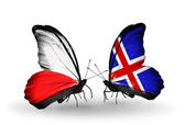 Two butterflies with flags  of  Poland and  Iceland — Stock Photo