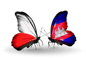 Two butterflies with flags  of  Poland and Cambodia — Stock Photo