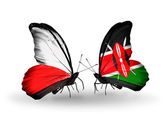 Two butterflies with flags  of Poland and Kenya — Stock Photo