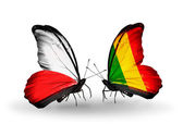 Two butterflies with flags  of  Poland and Mali — Stock Photo