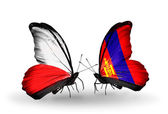 Two butterflies with flags  of Poland and Mongolia — Stock Photo