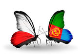 Two butterflies with flags  of Poland and Eritrea — Stock Photo