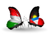 Two butterflies with flags  of Hungary and Antigua and Barbuda — Foto de Stock