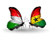Two butterflies with flags  of Hungary and Ghana — Stok fotoğraf
