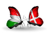 Two butterflies with flags Hungary and Denmark — Стоковое фото