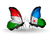 Two butterflies with flags Hungary and Djibouti — Stock Photo
