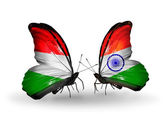 Two butterflies with flags Hungary and  India — Foto de Stock