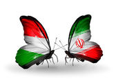 Two butterflies with flags Hungary and  Iran — 图库照片