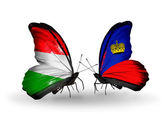 Two butterflies with flags Hungary and Liechtenstein — Stock Photo