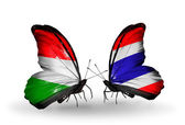 Butterflies with flags Hungary and Thailand — Стоковое фото