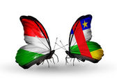 Butterflies with flags Hungary and Central African Republic — Stock Photo