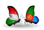 Butterflies with flags Hungary and Eritrea — Stock Photo