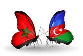 Butterflies with flags Morocco and Azerbaijan — Foto de Stock