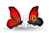 Butterflies with flags Morocco and Angola — Stock Photo