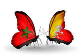 Vlinders met vlaggen marokko en brunei — Stockfoto