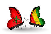 Butterflies with flags Morocco and Guinea — Stock Photo
