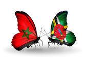 Mariposas con banderas de marruecos y dominica — Foto de Stock