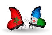Mariposas con banderas de marruecos y djibouti — Foto de Stock