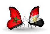 Butterflies with flags Morocco and Egypt — Stock Photo
