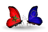 Butterflies with flags Morocco and European Union — Stock Photo