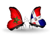 Butterflies with flags Morocco and Dominicana — Stock Photo