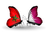 Butterflies with flags Morocco and Qatar — Stock Photo