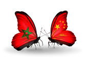 Butterflies with flags Morocco and China — Stock Photo