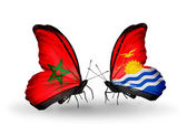 Butterflies with flags Morocco and Kiribati — Stock Photo