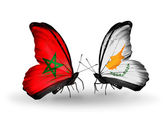 Butterflies with flags Morocco and Cyprus — Stock Photo