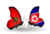 Butterflies with flags Morocco and North Korea — Foto de Stock