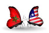 Mariposas con banderas de marruecos y liberia — Foto de Stock