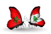 Mariposas con banderas de marruecos y líbano — Foto de Stock