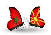 蝴蝶与摩洛哥和马其顿的国旗 — 图库照片