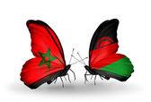 Mariposas con banderas de marruecos y malawi — Foto de Stock