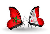 Butterflies with flags of Morocco and Malta — Stock Photo