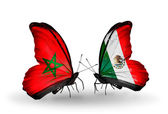 Butterflies with flags of Morocco and Mexico — Foto de Stock