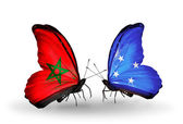 Butterflies with flags of Morocco and Micronesia — Foto de Stock