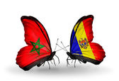 Butterflies with flags of Morocco and Moldova — Foto de Stock