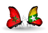 Butterflies with flags of Morocco and Myanmar — Foto de Stock