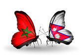 Butterflies with flags of Morocco and Nepal — Foto de Stock