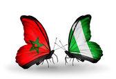 Mariposas con banderas de marruecos y nigeria — Foto de Stock