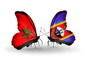 Two butterflies with flags Morocco and Swaziland — Foto de Stock