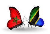 Dos mariposas con banderas de marruecos y tanzania — Foto de Stock